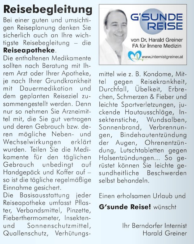 Reiseapotheke - GR-www.internistgreiner.at