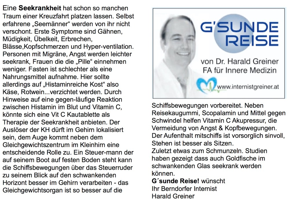 Seekrankheit Gsunde Reise - www.internistgreiner.at